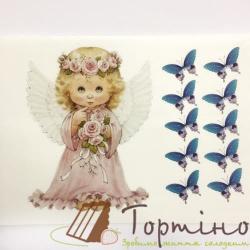 Вафельная пластина Ангелочек с бабочками