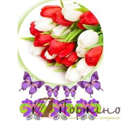 Вафельная пластина Цветы 5