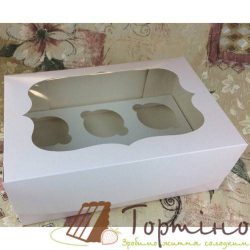 Картонная коробка на 6 кексов с окошком (белая)