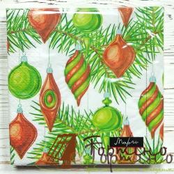 Салфетки Новогодние игрушечные (зелено-красные)