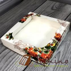 Коробка для пряника Калина с окном, 15*15*3 см