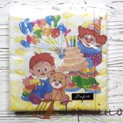 """Салфетки """"Happy birthday""""(клоуни)"""
