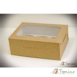 Картонная коробка на 6 кексов с окошком (коричневая)