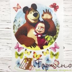 Вафельная пластина Маша и Медведь (с бабочками)