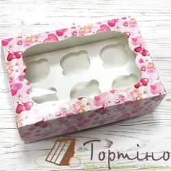 Картонная коробка на 6 кексов с окошком (Валентинка)