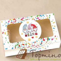 Коробка для макарунс и зефира 20 * 11,5 * 5 см (Гномы белые)
