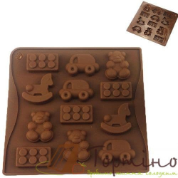 Силиконовая форма для шоколада Детские игрушки, 12 шт.