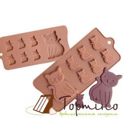 Силіконова форма для шоколаду Котики 870-385160, 7 шт.
