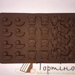 Силиконовая форма для шоколада (Уточка, мишка, зайчик)