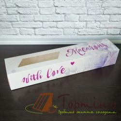 Коробка для макарунс Цветы Фиолет 30*6*5