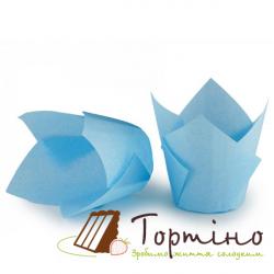 Форма для маффинов Тюльпан (светло-голубой), 10 шт.