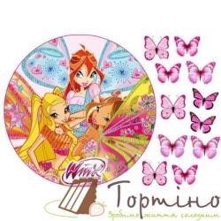 Вафельная пластина Winx с бабочками