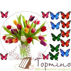 Вафельная пластина Цветы 3