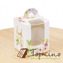 Коробка на 1 кекс Цветы