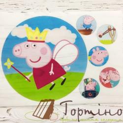 Вафельная пластина Свинка Пеппа (торт + капкейки)